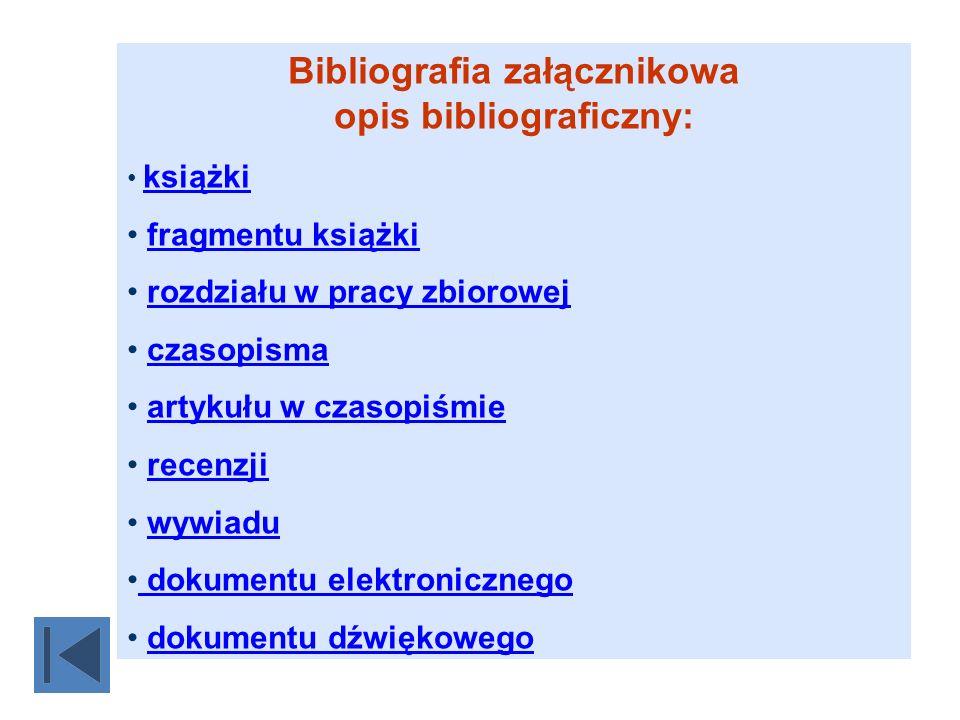 Bibliografia załącznikowa opis bibliograficzny: książki fragmentu książki rozdziału w pracy zbiorowej czasopisma artykułu w czasopiśmie recenzji wywia
