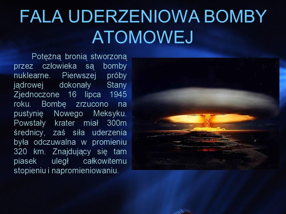 FALA UDERZENIOWA BOMBY ATOMOWEJ Potężną bronią stworzoną przez człowieka są bomby nuklearne.