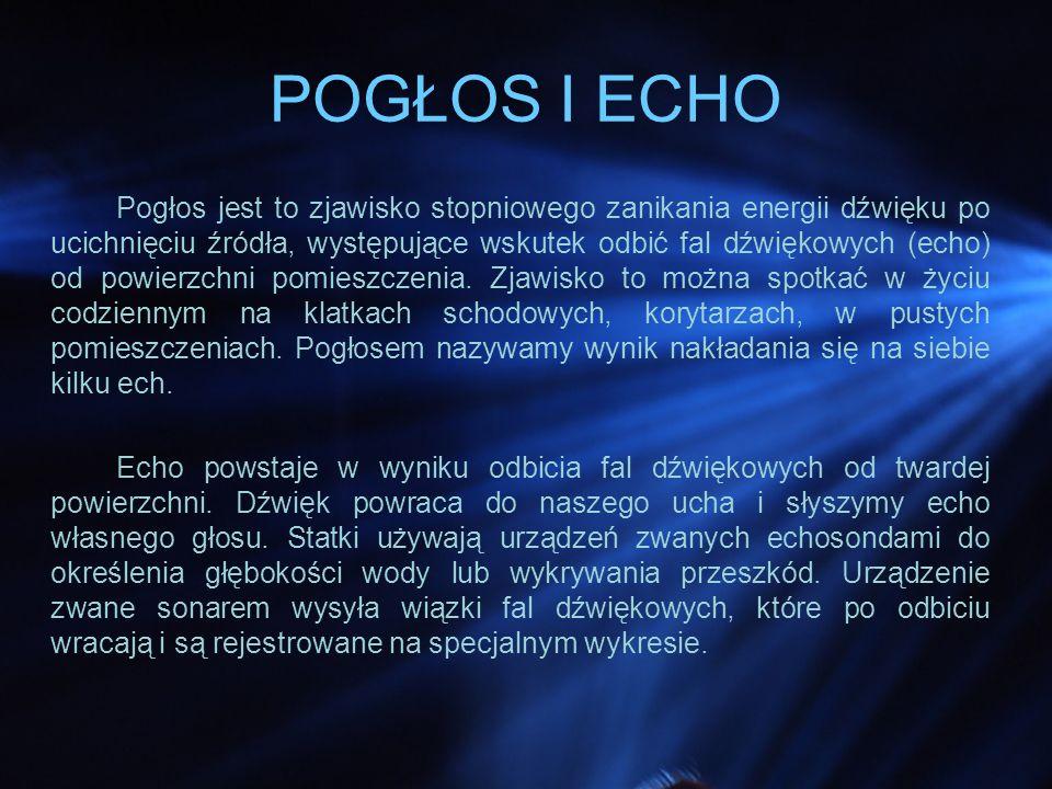 POGŁOS I ECHO Pogłos jest to zjawisko stopniowego zanikania energii dźwięku po ucichnięciu źródła, występujące wskutek odbić fal dźwiękowych (echo) od powierzchni pomieszczenia.