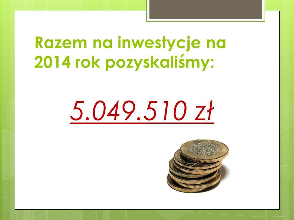 Razem na inwestycje na 2014 rok pozyskaliśmy: 5.049.510 zł