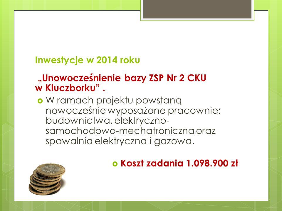 Inwestycje w 2014 roku Unowocześnienie bazy ZSP Nr 2 CKU w Kluczborku. W ramach projektu powstaną nowocześnie wyposażone pracownie: budownictwa, elekt