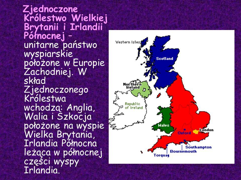 Zjednoczone Królestwo Wielkiej Brytanii i Irlandii Północnej – unitarne państwo wyspiarskie położone w Europie Zachodniej. W skład Zjednoczonego Króle