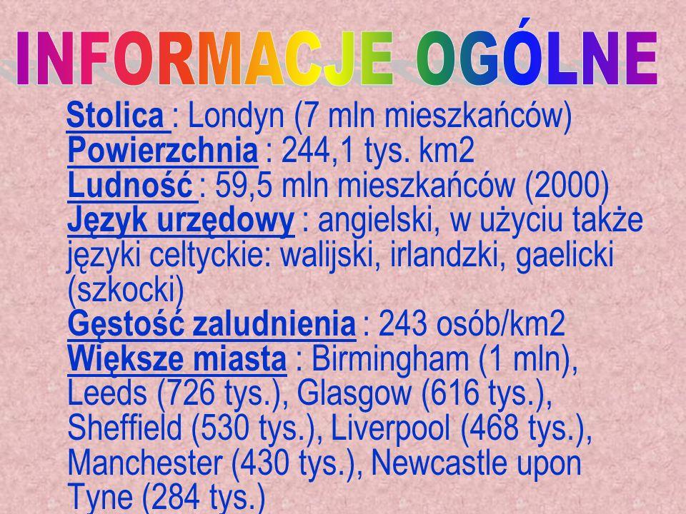 Stolica : Londyn (7 mln mieszkańców) Powierzchnia : 244,1 tys. km2 Ludność : 59,5 mln mieszkańców (2000) Język urzędowy : angielski, w użyciu także ję