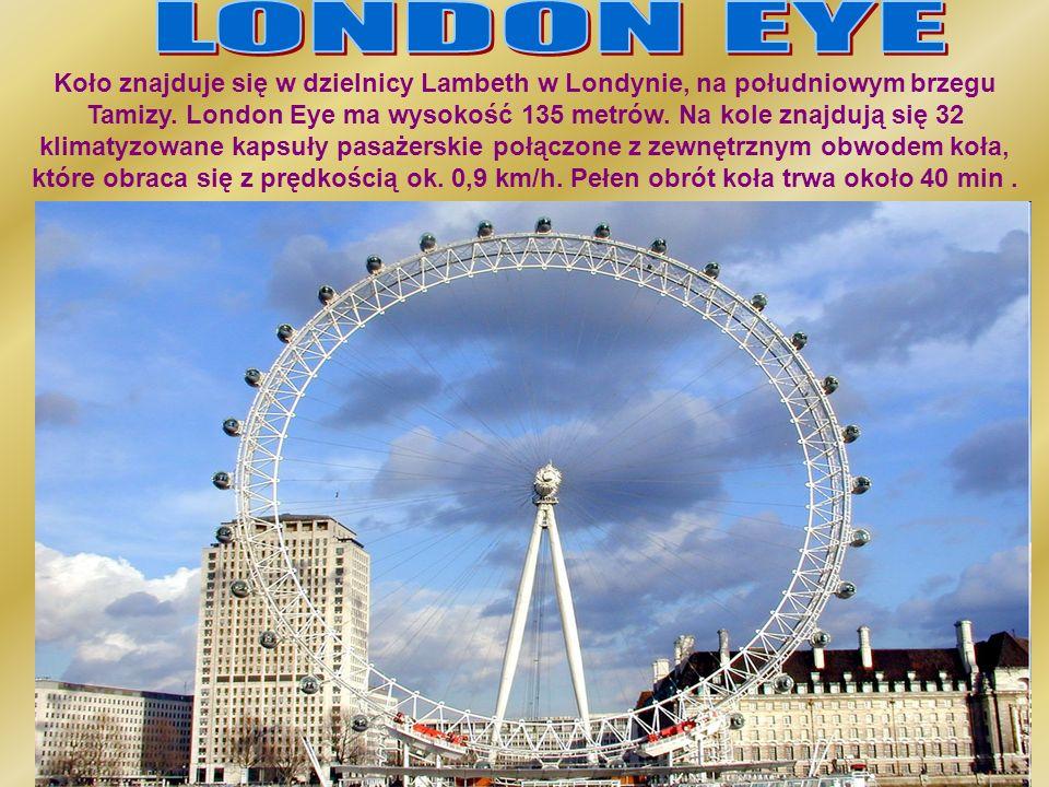 Koło znajduje się w dzielnicy Lambeth w Londynie, na południowym brzegu Tamizy. London Eye ma wysokość 135 metrów. Na kole znajdują się 32 klimatyzowa