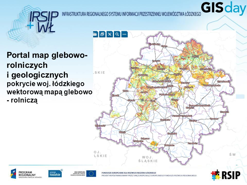 Portal map glebowo- rolniczych i geologicznych pokrycie woj. łódzkiego wektorową mapą glebowo - rolniczą