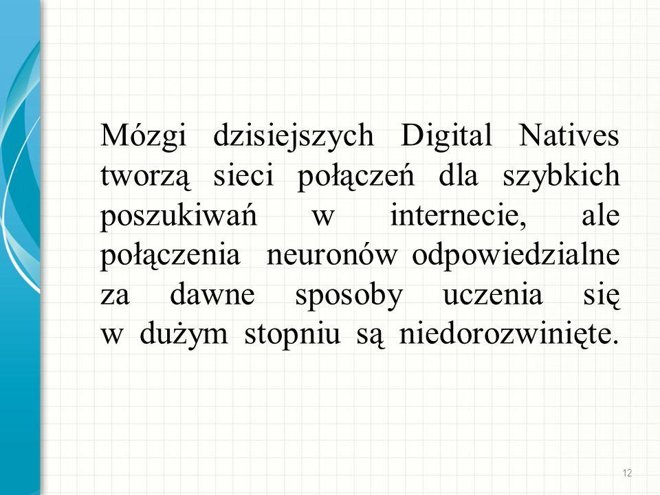Mózgi dzisiejszych Digital Natives tworzą sieci połączeń dla szybkich poszukiwań w internecie, ale połączenia neuronów odpowiedzialne za dawne sposoby uczenia się w dużym stopniu są niedorozwinięte.
