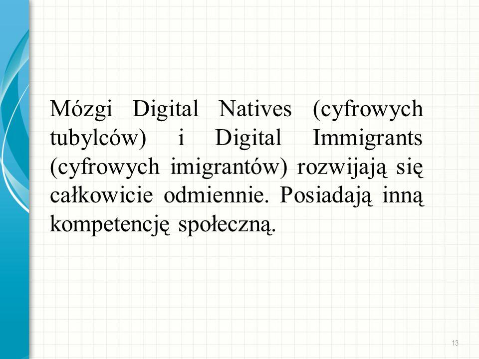 Mózgi Digital Natives (cyfrowych tubylców) i Digital Immigrants (cyfrowych imigrantów) rozwijają się całkowicie odmiennie. Posiadają inną kompetencję