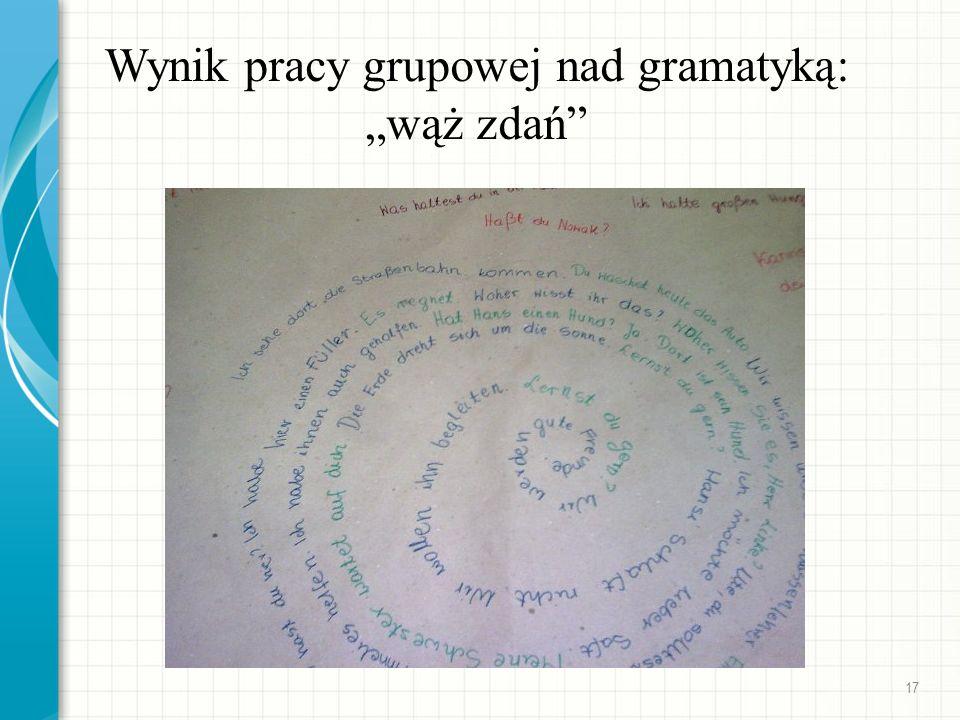 Wynik pracy grupowej nad gramatyką: wąż zdań 17