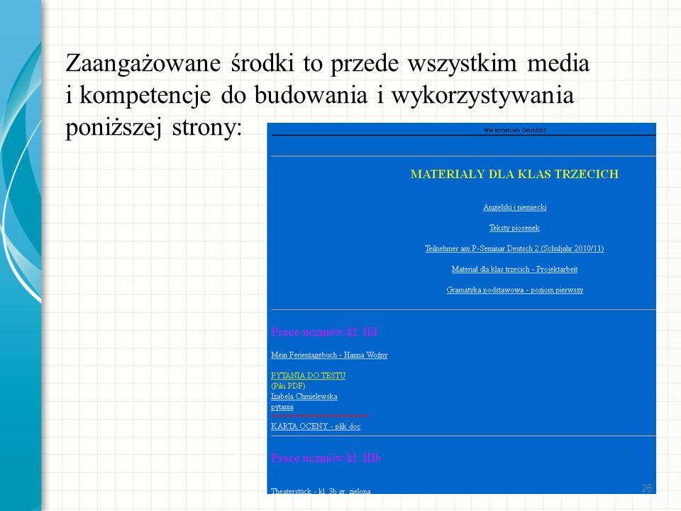 Zaangażowane środki to przede wszystkim media i kompetencje do budowania i wykorzystywania poniższej strony: 26