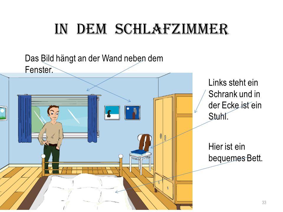 Hier ist ein bequemes Bett. Links steht ein Schrank und in der Ecke ist ein Stuhl. Das Bild hängt an der Wand neben dem Fenster. In dem Schlafzimmer 3