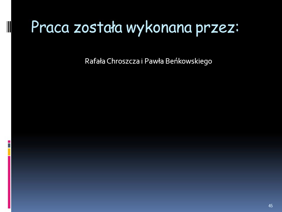 Praca została wykonana przez: Rafała Chroszcza i Pawła Beńkowskiego 45