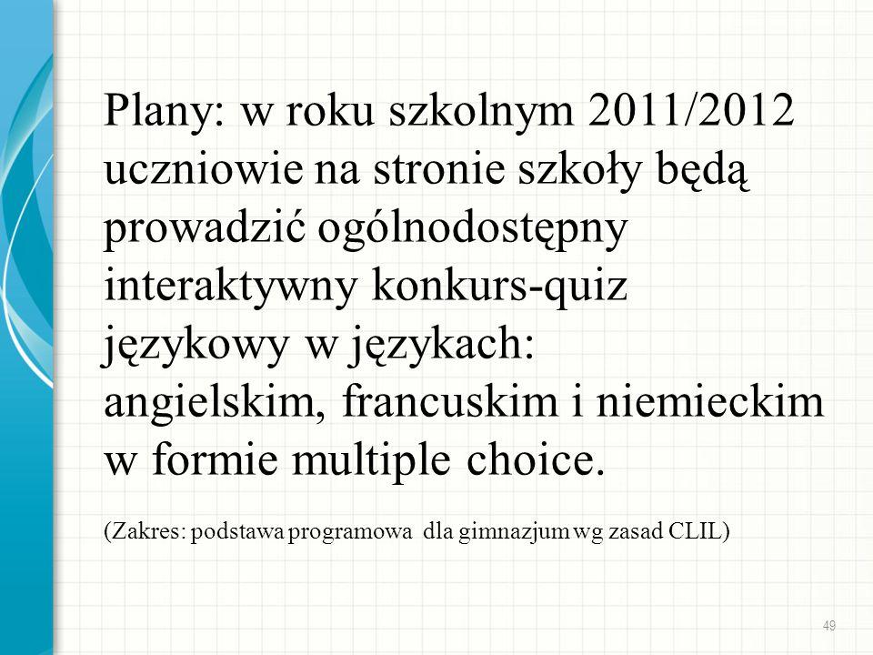 Plany: w roku szkolnym 2011/2012 uczniowie na stronie szkoły będą prowadzić ogólnodostępny interaktywny konkurs-quiz językowy w językach: angielskim,