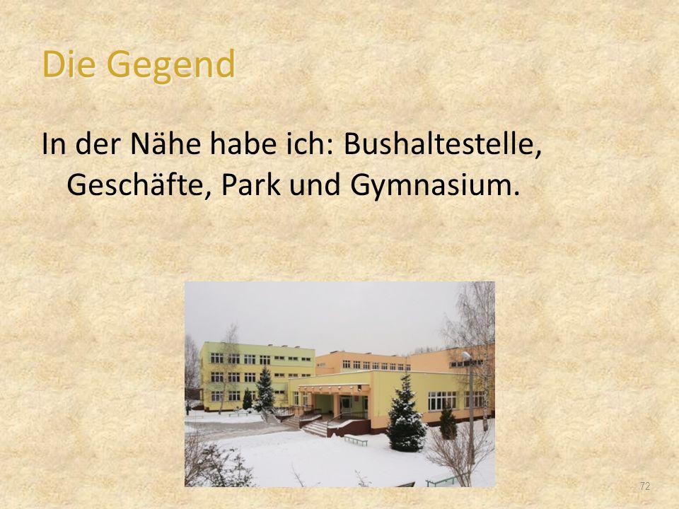 Die Gegend In der Nähe habe ich: Bushaltestelle, Geschäfte, Park und Gymnasium. 72