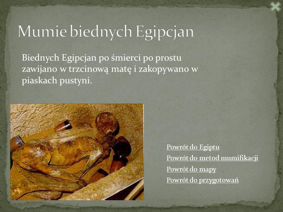Biednych Egipcjan po śmierci po prostu zawijano w trzcinową matę i zakopywano w piaskach pustyni.