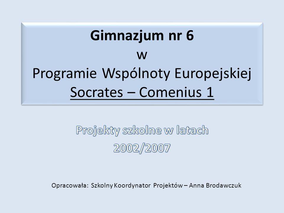 Gimnazjum nr 6 w Programie Wspólnoty Europejskiej Socrates – Comenius 1 Opracowała: Szkolny Koordynator Projektów – Anna Brodawczuk