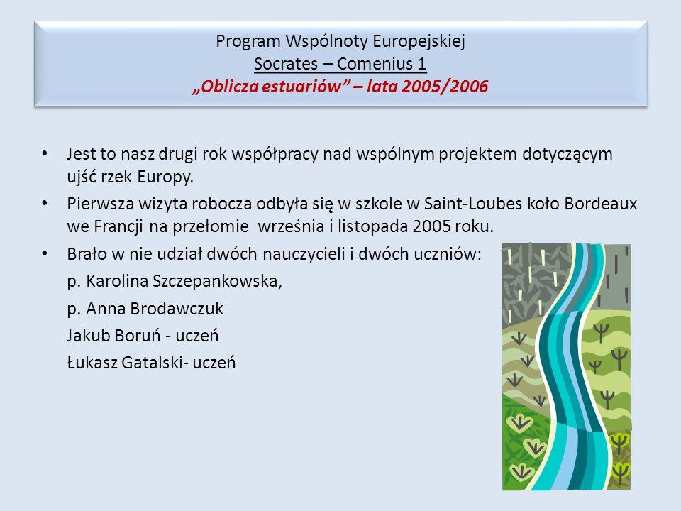 Jest to nasz drugi rok współpracy nad wspólnym projektem dotyczącym ujść rzek Europy. Pierwsza wizyta robocza odbyła się w szkole w Saint-Loubes koło