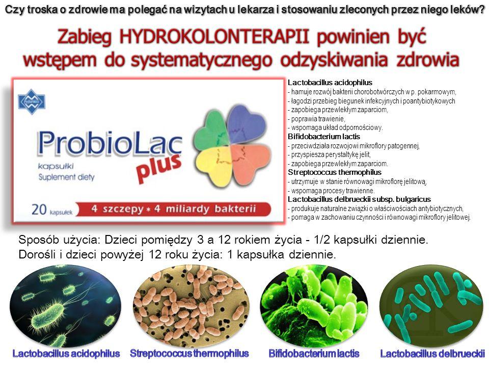 Lactobacillus acidophilus - hamuje rozwój bakterii chorobotwórczych w p. pokarmowym, - łagodzi przebieg biegunek infekcyjnych i poantybiotykowych - za