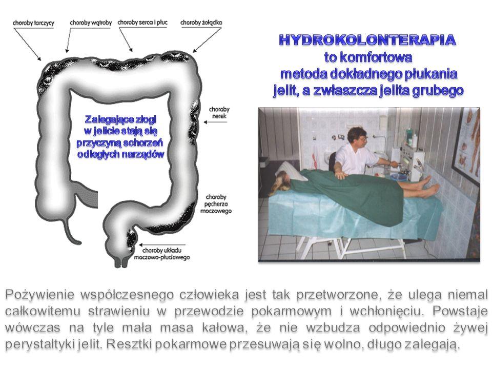 Wchłanianie wody i elektrolitów Usuwanie toksyn Wchłanianie niewielkich ilości cukrów, tłuszczy aminokwasów i witamin Wydzielanie soku jelitowego Fermentacja gazowa przez bakterie jelitowe skatol, metan, merkaptan K+K+ Nieusunięte gazy i produkty gnilne wchłaniają się do krwi: indole, fenole, kadaweryna, putrescyna i inne Lacto i bifidobakterie Wytwarzają witaminy B12, K, biotynę, kwas Foliowy, pantotenowy Nikotynowy, inozytol Przez tą część jelita najczęściej następuje inwazja bakterii, gdy słabną siły odporności organizmu.