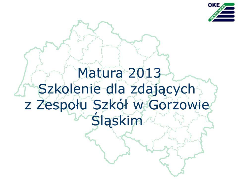 Źródła Do szkolenia zostały wykorzystane: Wybrane slajdy z prezentacji przygotowanej przez Okręgową Komisję Egzaminacyjną we Wrocławiu Materiały przygotowane przez wicedyrektor Małgorzatę Szarek na podstawie instrukcji oraz procedur przeprowadzania egzaminu maturalnego w roku szkolnym 2012/2013