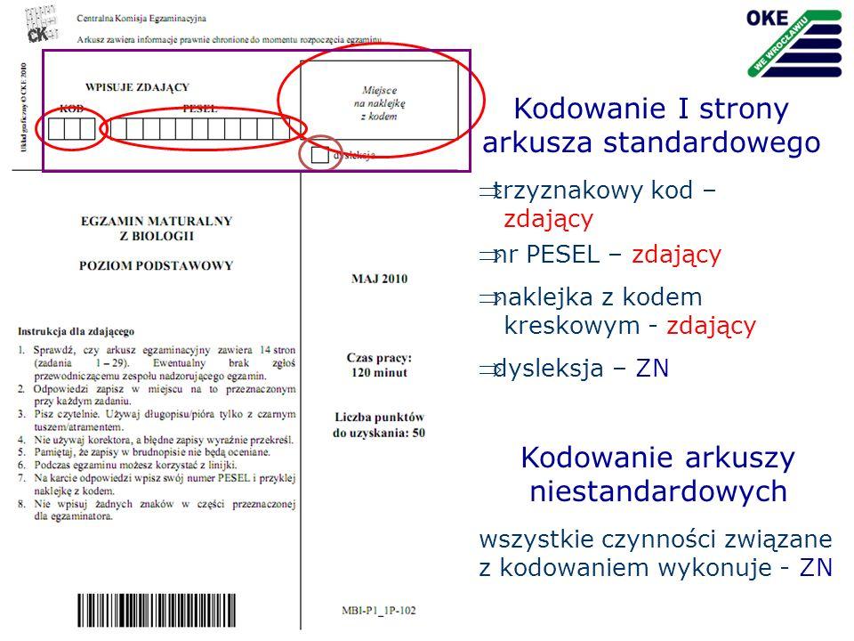 trzyznakowy kod – zdający Kodowanie I strony arkusza standardowego nr PESEL – zdający dysleksja – ZN naklejka z kodem kreskowym - zdający Kodowanie ar