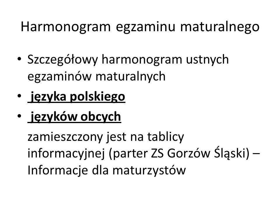 Harmonogram egzaminu maturalnego Szczegółowy harmonogram ustnych egzaminów maturalnych języka polskiego języków obcych zamieszczony jest na tablicy in