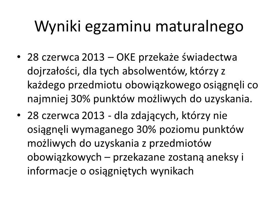 Wyniki egzaminu maturalnego 28 czerwca 2013 – OKE przekaże świadectwa dojrzałości, dla tych absolwentów, którzy z każdego przedmiotu obowiązkowego osi