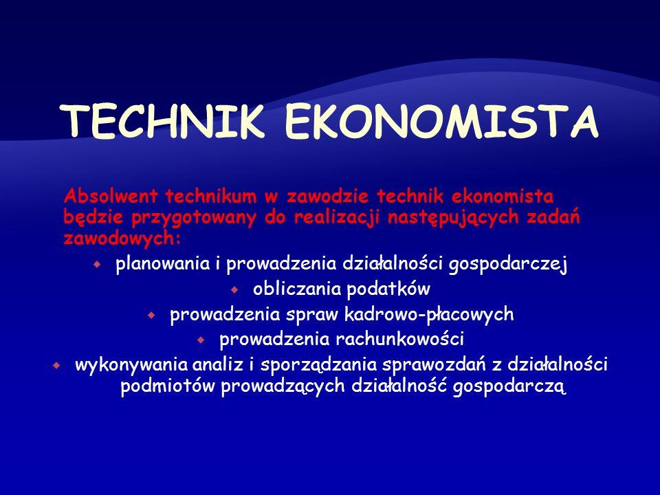 Absolwent technikum w zawodzie technik ekonomista będzie przygotowany do realizacji następujących zadań zawodowych: planowania i prowadzenia działalno