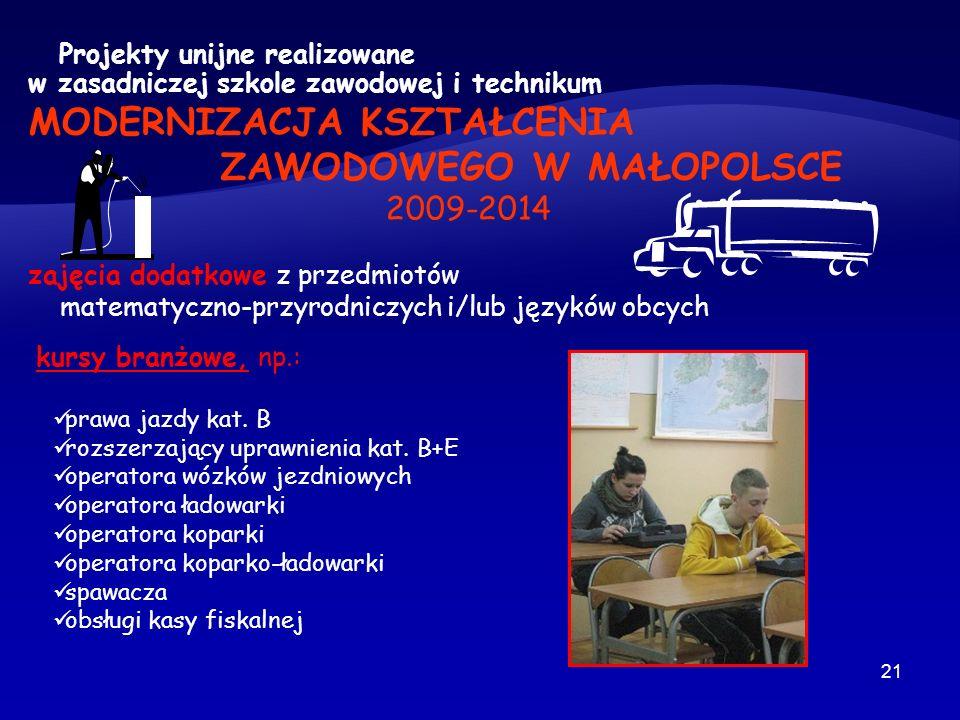21 Projekty unijne realizowane w zasadniczej szkole zawodowej i technikum MODERNIZACJA KSZTAŁCENIA ZAWODOWEGO W MAŁOPOLSCE 2009-2014 zajęcia dodatkowe z przedmiotów matematyczno-przyrodniczych i/lub języków obcych kursy branżowe, np.: prawa jazdy kat.