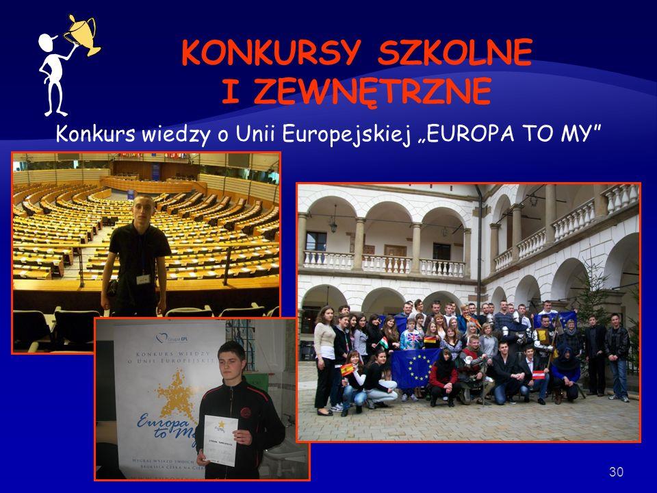 Konkurs wiedzy o Unii Europejskiej EUROPA TO MY 30 KONKURSY SZKOLNE I ZEWNĘTRZNE