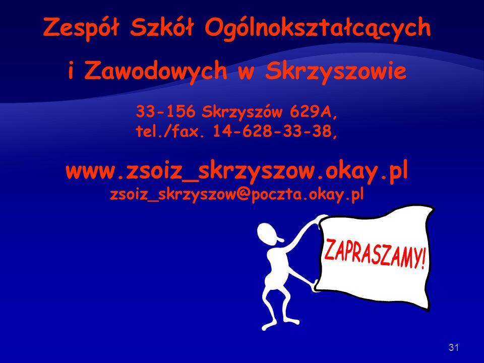 31 Zespół Szkół Ogólnokształcących i Zawodowych w Skrzyszowie 33-156 Skrzyszów 629A, tel./fax.