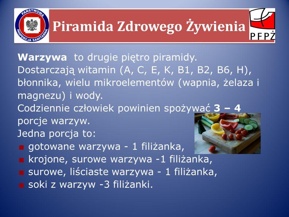Piramida Zdrowego Żywienia Warzywa to drugie piętro piramidy. Dostarczają witamin (A, C, E, K, B1, B2, B6, H), błonnika, wielu mikroelementów (wapnia,