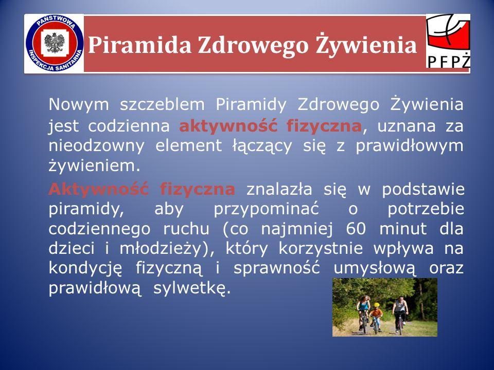 Piramida Zdrowego Żywienia Nowym szczeblem Piramidy Zdrowego Żywienia jest codzienna aktywność fizyczna, uznana za nieodzowny element łączący się z pr