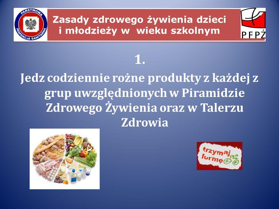 Zasady zdrowego żywienia dzieci i młodzieży w wieku szkolnym 1. Jedz codziennie rożne produkty z każdej z grup uwzględnionych w Piramidzie Zdrowego Ży