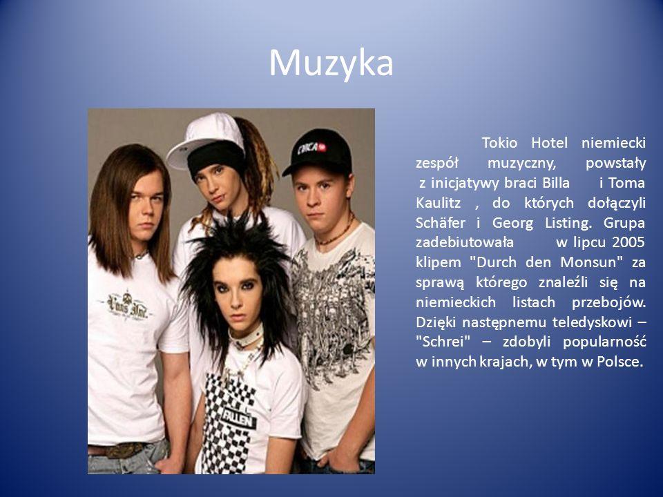 Muzyka Tokio Hotel niemiecki zespół muzyczny, powstały z inicjatywy braci Billa i Toma Kaulitz, do których dołączyli Schäfer i Georg Listing. Grupa za