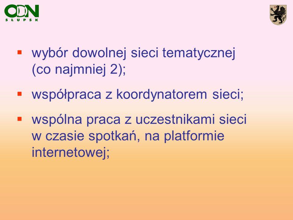 wybór dowolnej sieci tematycznej (co najmniej 2); współpraca z koordynatorem sieci; wspólna praca z uczestnikami sieci w czasie spotkań, na platformie