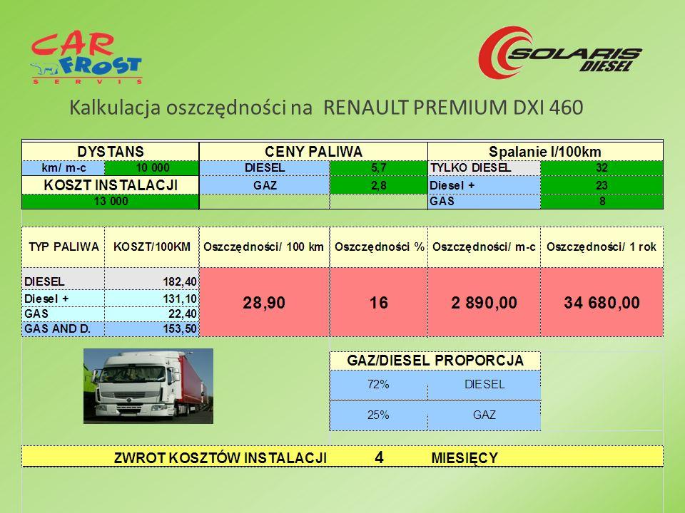 Kalkulacja oszczędności na RENAULT PREMIUM DXI 460