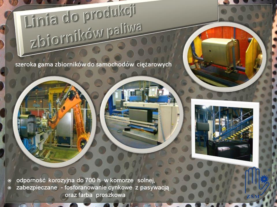 odporność korozyjna do 700 h w komorze solnej, zabezpieczane - fosforanowanie cynkowe z pasywacją oraz farba proszkowa szeroka gama zbiorników do samochodów ciężarowych