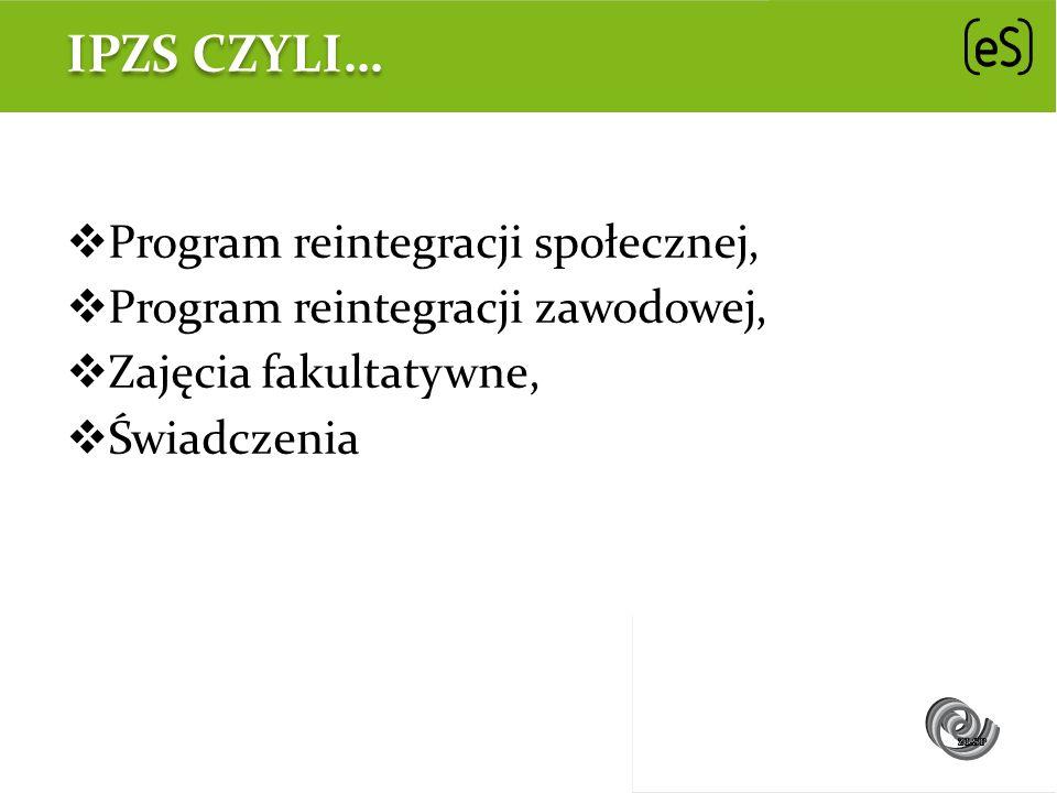 IPZS CZYLI… Program reintegracji społecznej, Program reintegracji zawodowej, Zajęcia fakultatywne, Świadczenia