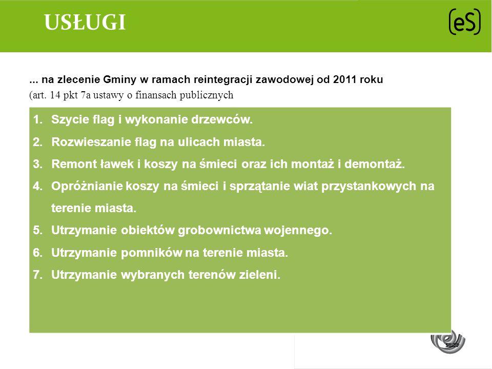 USŁUGI... na zlecenie Gminy w ramach reintegracji zawodowej od 2011 roku (art. 14 pkt 7a ustawy o finansach publicznych 1.Szycie flag i wykonanie drze