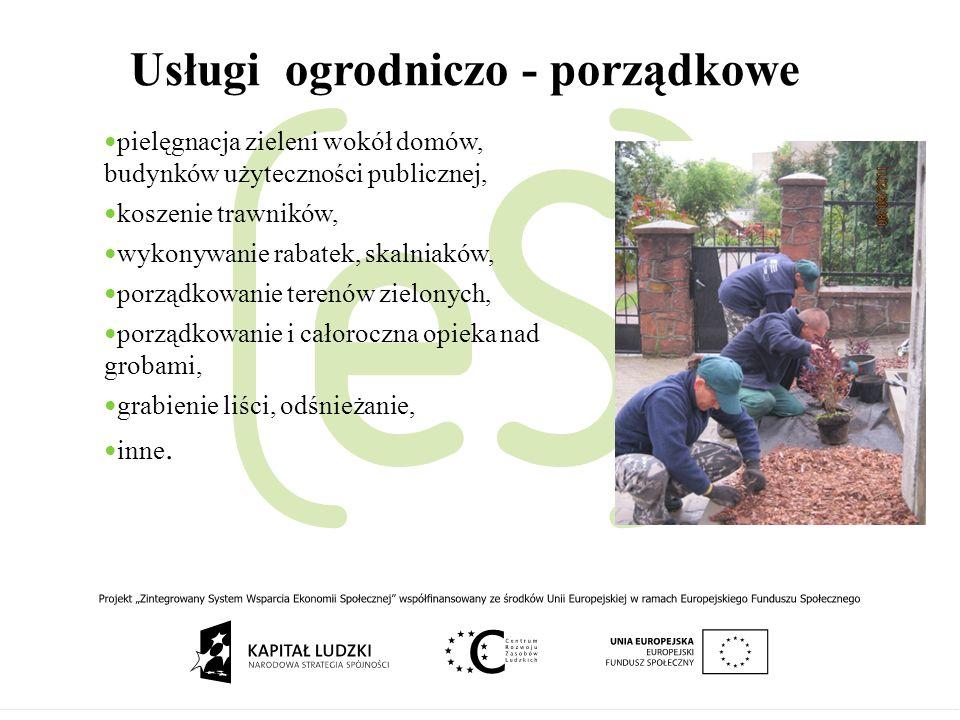 Usługi ogrodniczo - porządkowe pielęgnacja zieleni wokół domów, budynków użyteczności publicznej, koszenie trawników, wykonywanie rabatek, skalniaków,