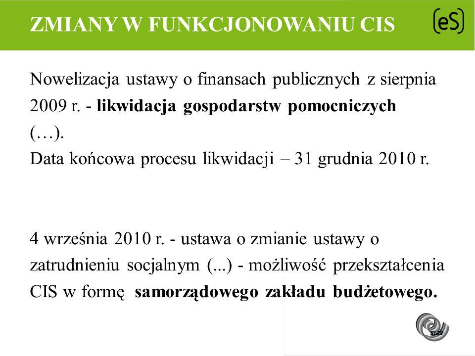 Nowelizacja ustawy o finansach publicznych z sierpnia 2009 r. - likwidacja gospodarstw pomocniczych (…). Data końcowa procesu likwidacji – 31 grudnia