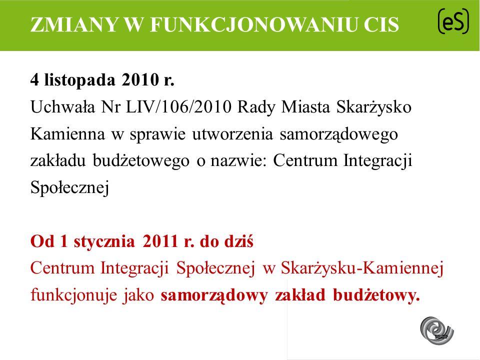 4 listopada 2010 r. Uchwała Nr LIV/106/2010 Rady Miasta Skarżysko Kamienna w sprawie utworzenia samorządowego zakładu budżetowego o nazwie: Centrum In