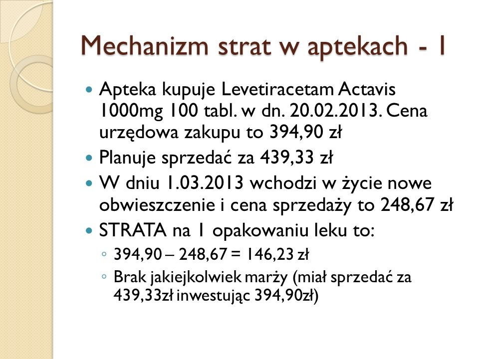Mechanizm strat w aptekach - 1 Apteka kupuje Levetiracetam Actavis 1000mg 100 tabl. w dn. 20.02.2013. Cena urzędowa zakupu to 394,90 zł Planuje sprzed