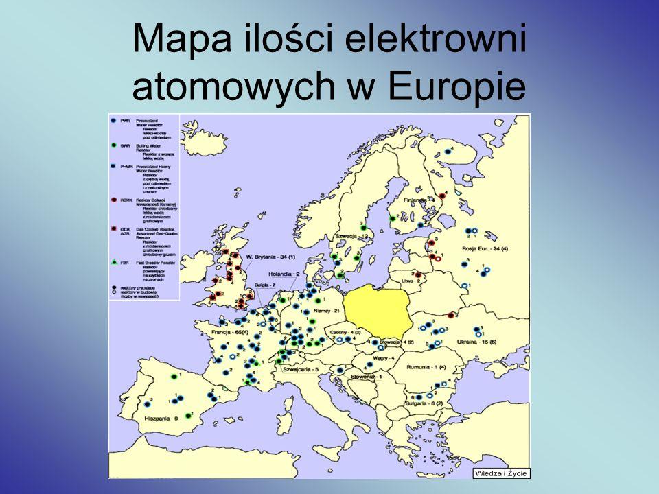 Mapa ilości elektrowni atomowych w Europie