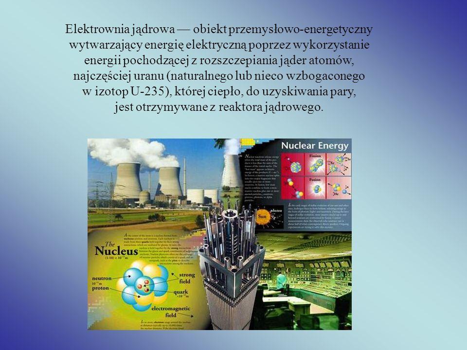 Elektrownia jądrowa obiekt przemysłowo-energetyczny wytwarzający energię elektryczną poprzez wykorzystanie energii pochodzącej z rozszczepiania jąder
