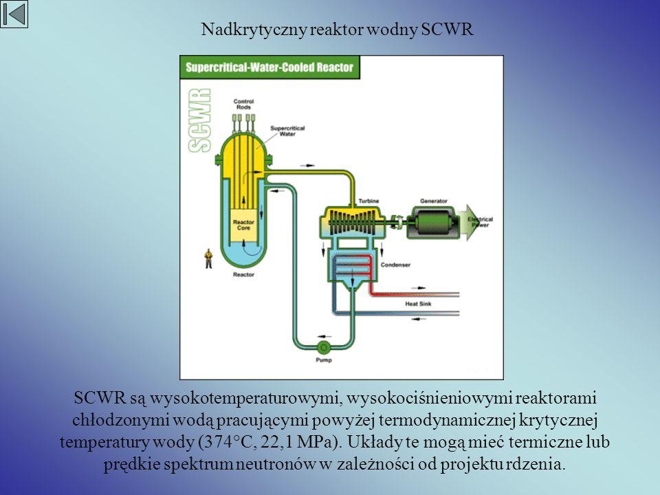 SCWR są wysokotemperaturowymi, wysokociśnieniowymi reaktorami chłodzonymi wodą pracującymi powyżej termodynamicznej krytycznej temperatury wody (374°C