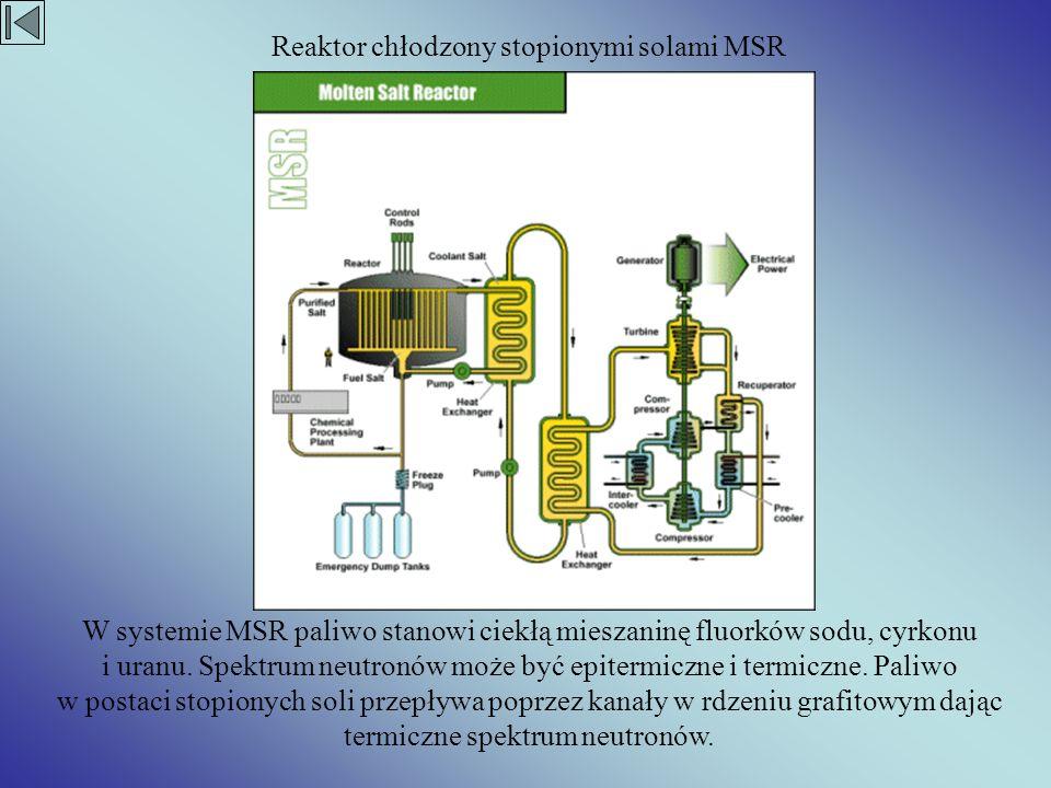 W systemie MSR paliwo stanowi ciekłą mieszaninę fluorków sodu, cyrkonu i uranu. Spektrum neutronów może być epitermiczne i termiczne. Paliwo w postaci