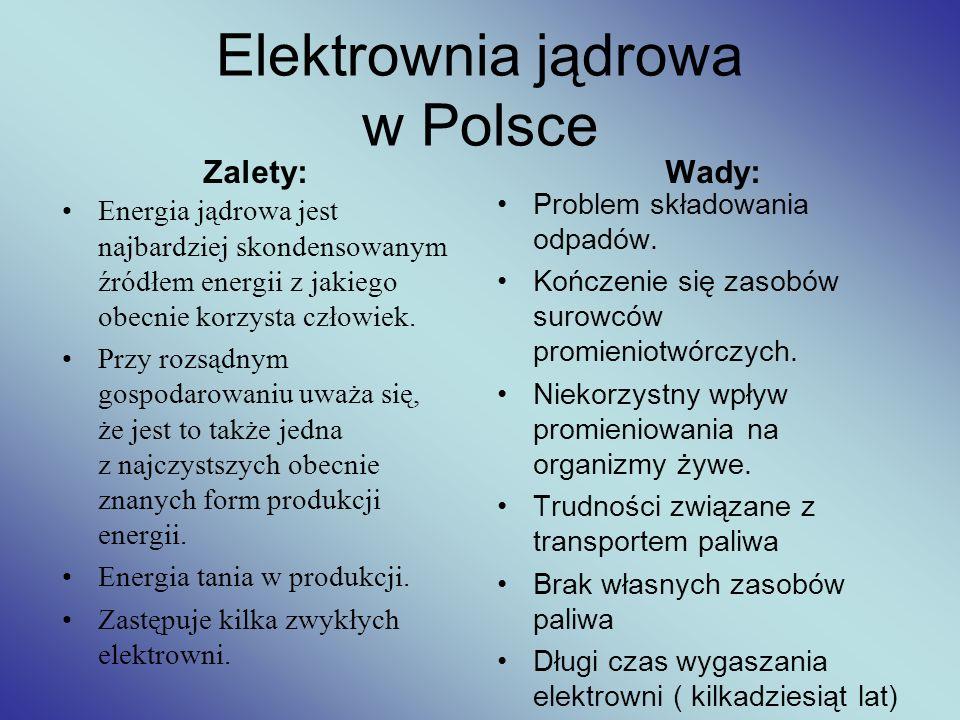 Elektrownia jądrowa w Polsce Zalety: Energia jądrowa jest najbardziej skondensowanym źródłem energii z jakiego obecnie korzysta człowiek. Przy rozsądn