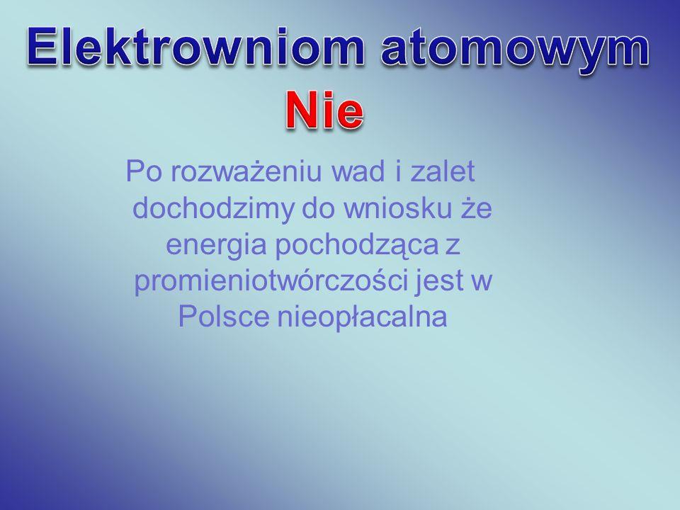 Po rozważeniu wad i zalet dochodzimy do wniosku że energia pochodząca z promieniotwórczości jest w Polsce nieopłacalna