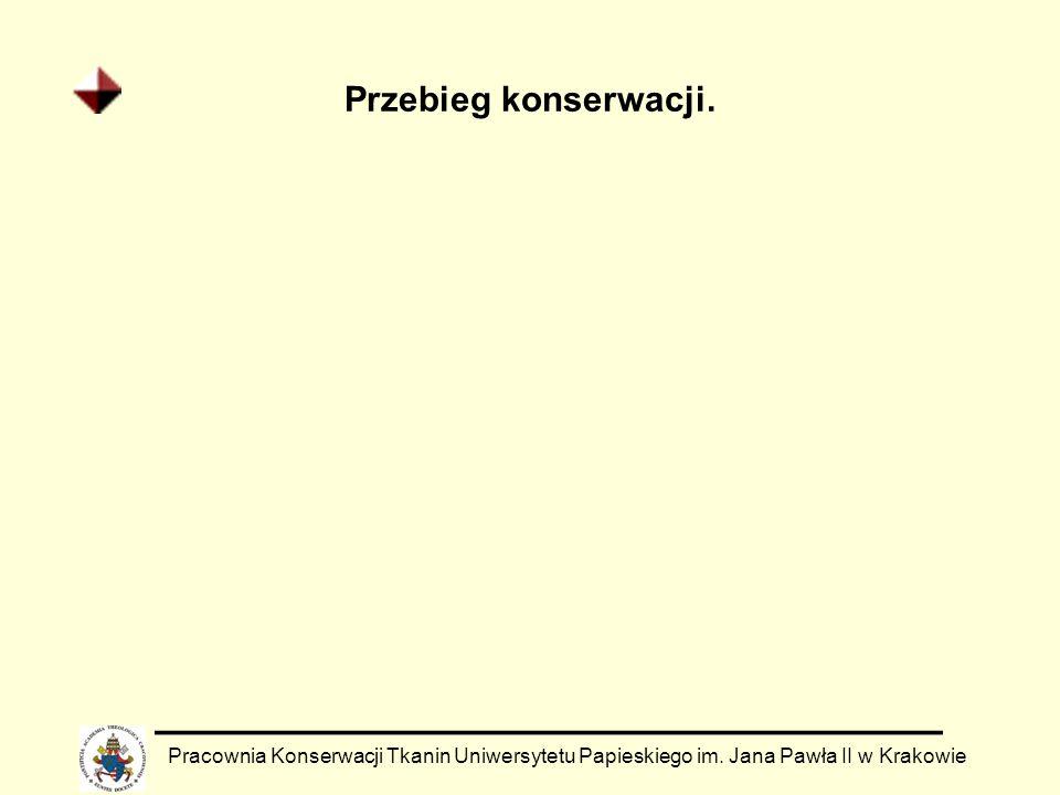 Przebieg konserwacji. Pracownia Konserwacji Tkanin Uniwersytetu Papieskiego im. Jana Pawła II w Krakowie